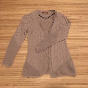 Sweaters - Beige Knit Cardigan